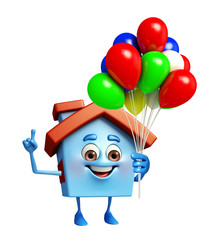 House character with balloons