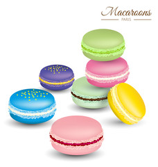 Tasty colorful french macaroons vector