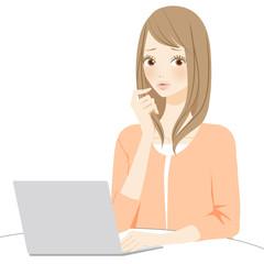 PC パソコン操作で困る女性