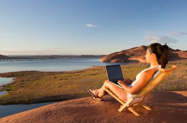 Computer and Girl at Lake Powell