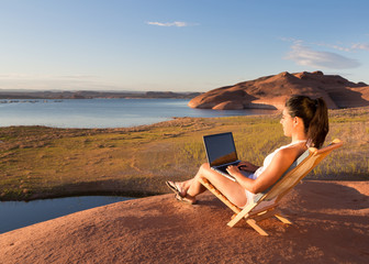 Girl at Her Lake Powell Office