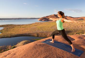 Girl and Lake Powell Yoga