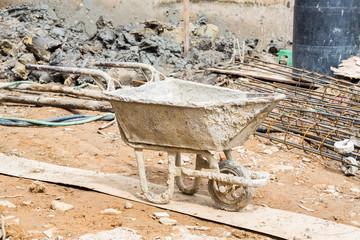 Old and dirty construction Wheelbarrow