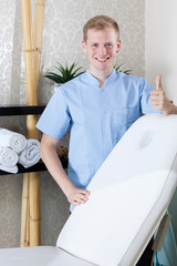 Male beautician with okay gesture