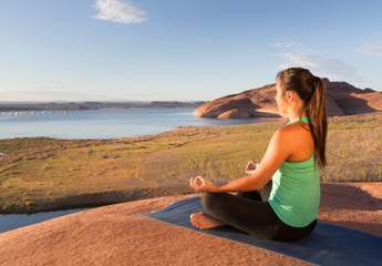 Girl Finding Peace at lake Powell