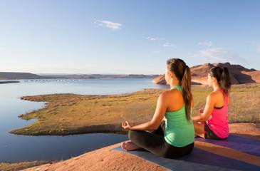 Girl Pair Yoga Lake Powell