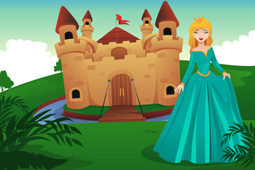 Princess in front of her castle