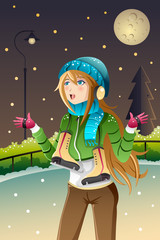Girl playing ice skating