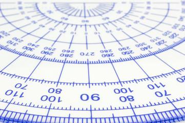 Geometry ruler macro isolated white background