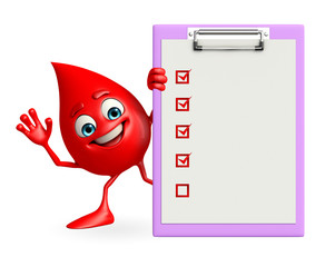 Blood Drop Character with notepad