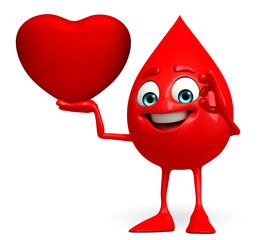 Blood Drop Character with heart