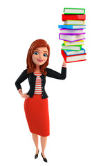 Young Corporate lady with pile of books