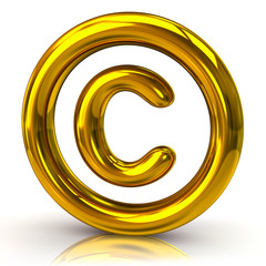 Golden copyright icon