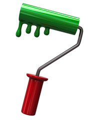 Green paint roller icon