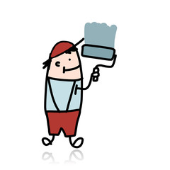 House painter with roller paints the wall, cartoon for your