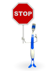 Toothbrush Character with stop sign