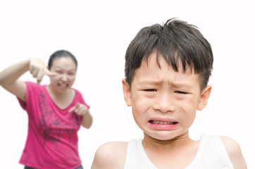 Little  Asian boy being Scolded by his mother
