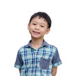 Asian boy with smiling face isolated on white background