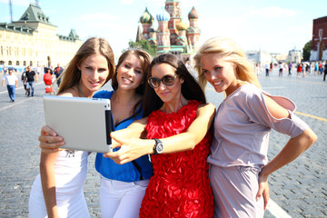 Selfie Four women at the red square in Moscow
