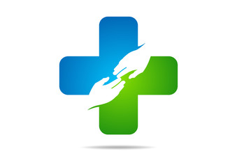 cross pharmacy logo medical hand care