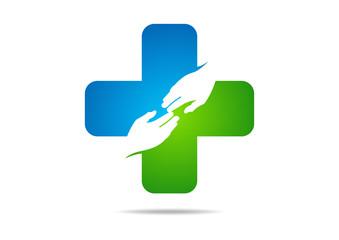 cross pharmacy logo medical hand care