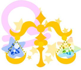 星占いの天秤座をイメージしたイラスト