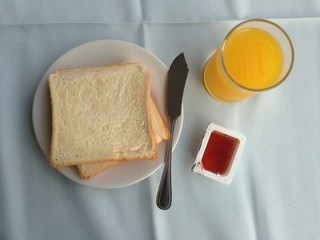 bread yam strawberry and orange juice