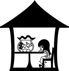 金魚鉢を眺めてリラックスする女性