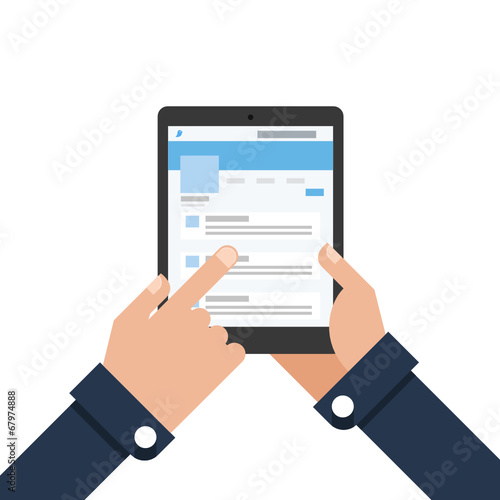 Businessman holding tablet Microblogging - 67974888