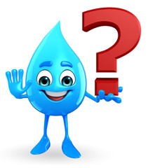 Water Drop Character with question mark sign