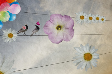 birds on wires decorated with flowers, greeting card