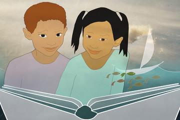 children read a book, back to school