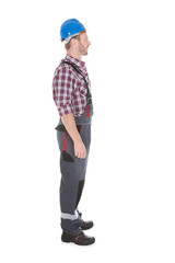 Manual Worker Standing Over White Background