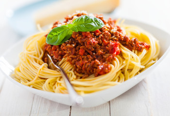 Bowl of delicious Italian spaghetti Bolognese
