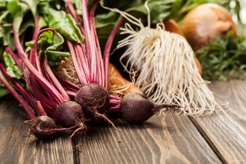 Beetroots, carrots and leek