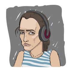 girl with headphones listening to the radio