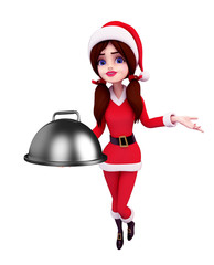 Santa Girl Character with dish pan