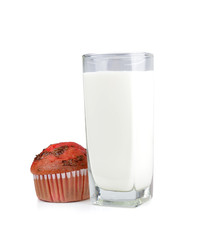 Milk in glass and  Muffin with berries
