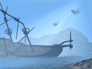 Shipwreck underwater - 3D render
