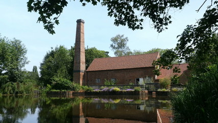 Water mill and mill pond 1771, in Birmingham, England.