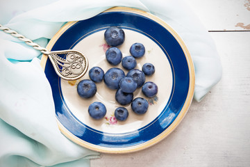 Fresh ripe blueberries in vintage saucer with dark blue edge
