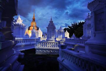 Twilight at Wat Suan Dok, chiang mai, Thailand.
