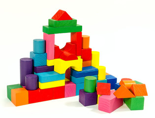 Tower  of wooden colorful toy blocks