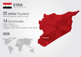 Syria World map with a pixel diamond texture.