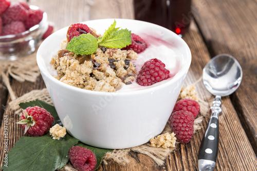 Bowl with fresh made Raspberry Yogurt - 67977824