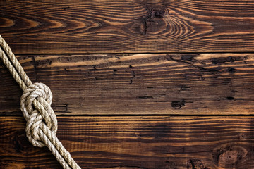 Marine knot on wooden deck