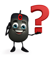 Computer Mouse Character with question mark