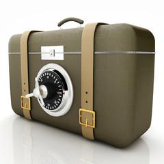 Leather suitcase-safe.