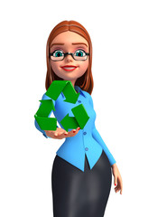 Young office girl with recycle icon