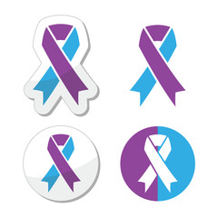 Purple and blue ribbon - pediatric strokes awareness